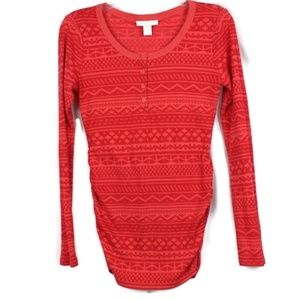 Motherhood Maternity Top Thermal Shirt Striped Red